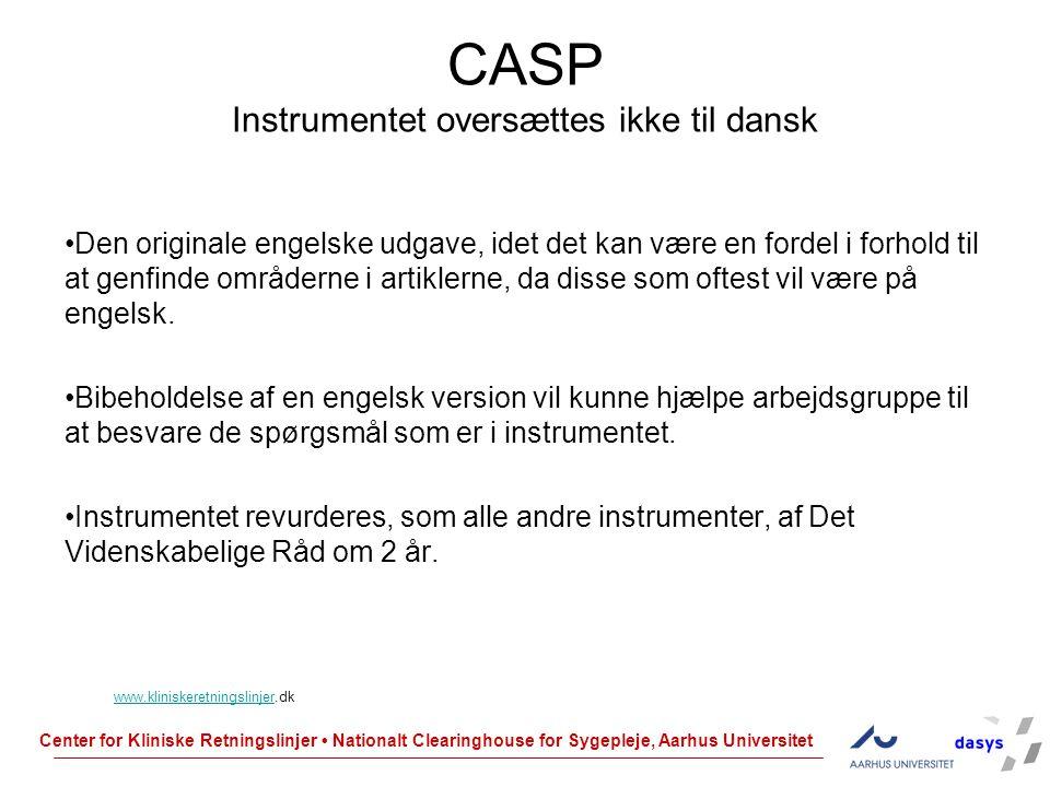 CASP Instrumentet oversættes ikke til dansk