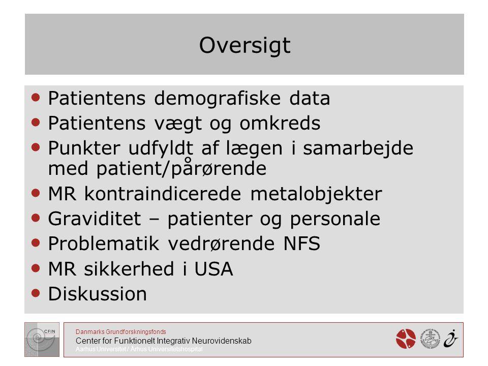 Oversigt Patientens demografiske data Patientens vægt og omkreds