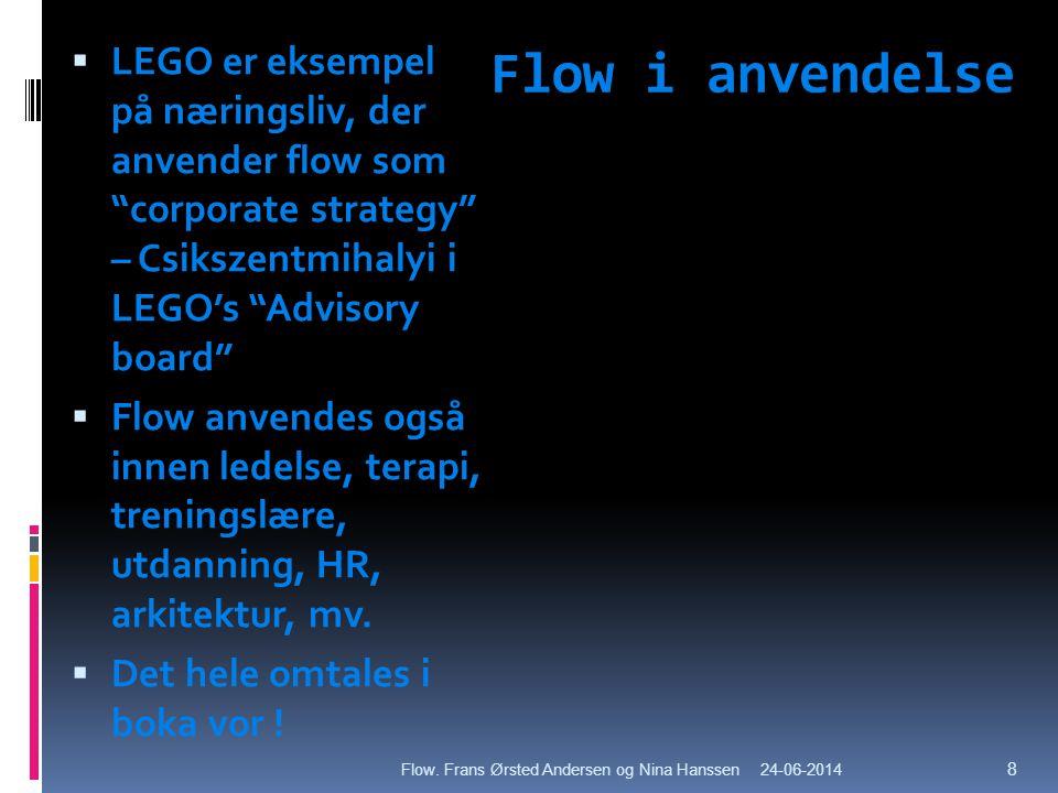 LEGO er eksempel på næringsliv, der anvender flow som corporate strategy – Csikszentmihalyi i LEGO's Advisory board