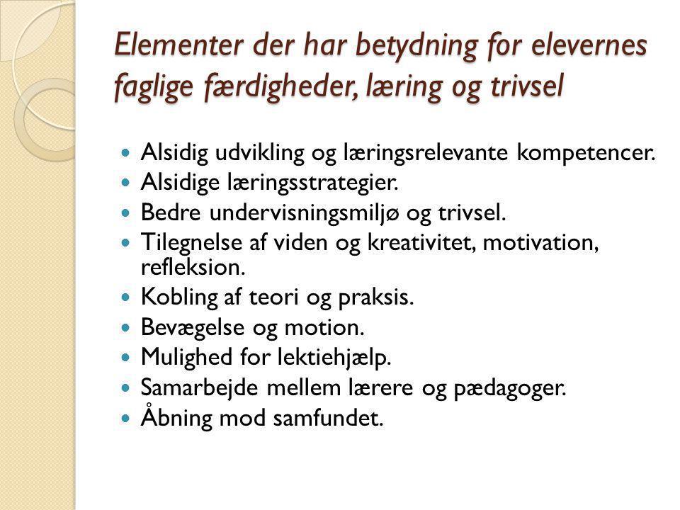 Elementer der har betydning for elevernes faglige færdigheder, læring og trivsel