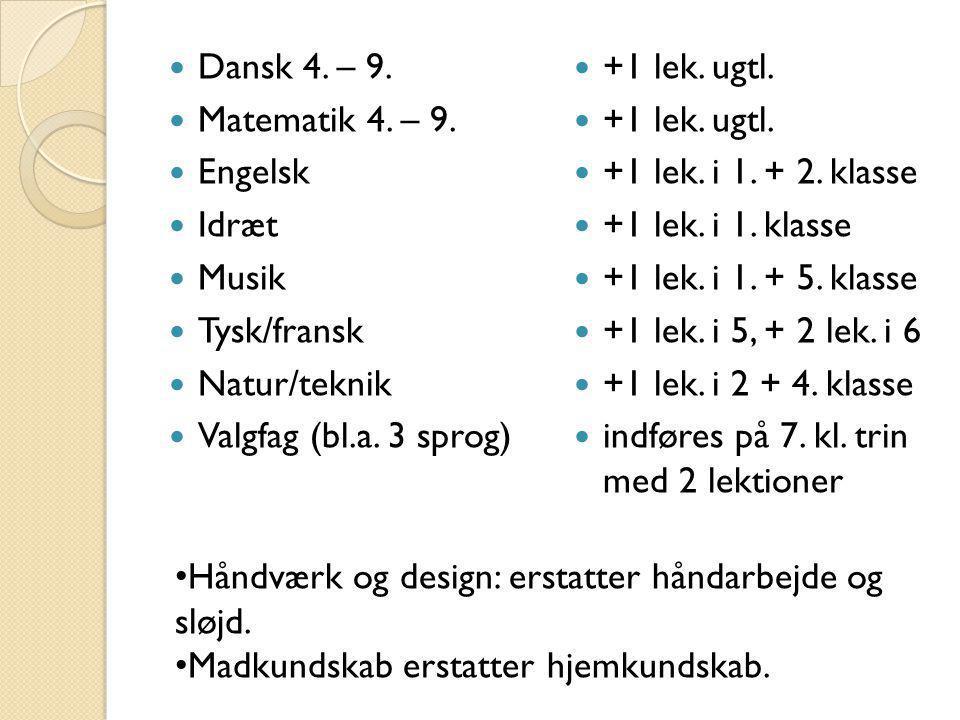 Dansk 4. – 9. Matematik 4. – 9. Engelsk. Idræt. Musik. Tysk/fransk. Natur/teknik. Valgfag (bl.a. 3 sprog)