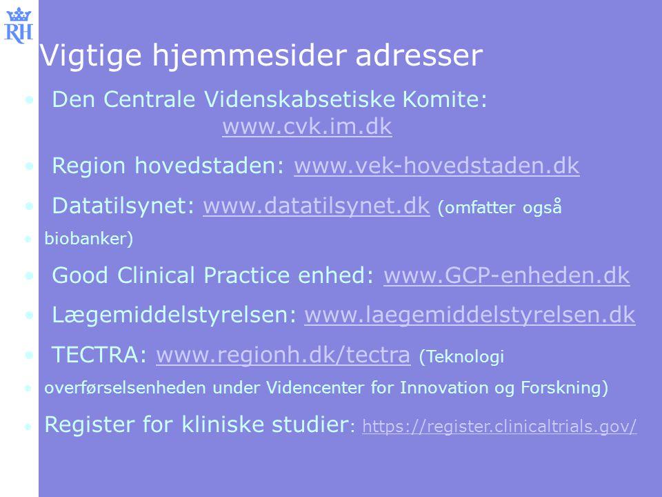 Vigtige hjemmesider adresser