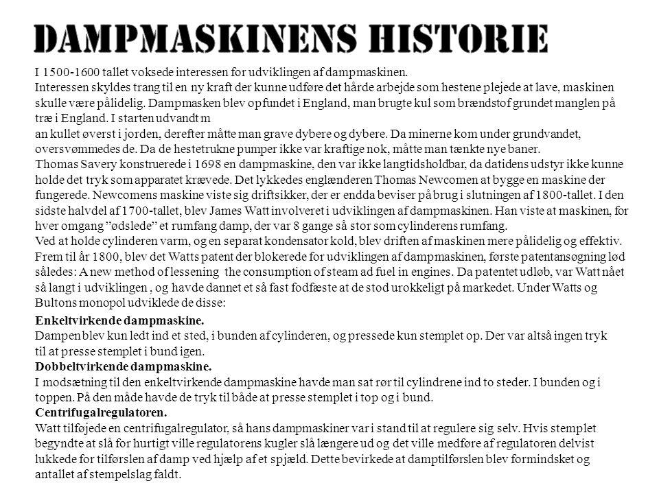 Dampmaskinens Historie