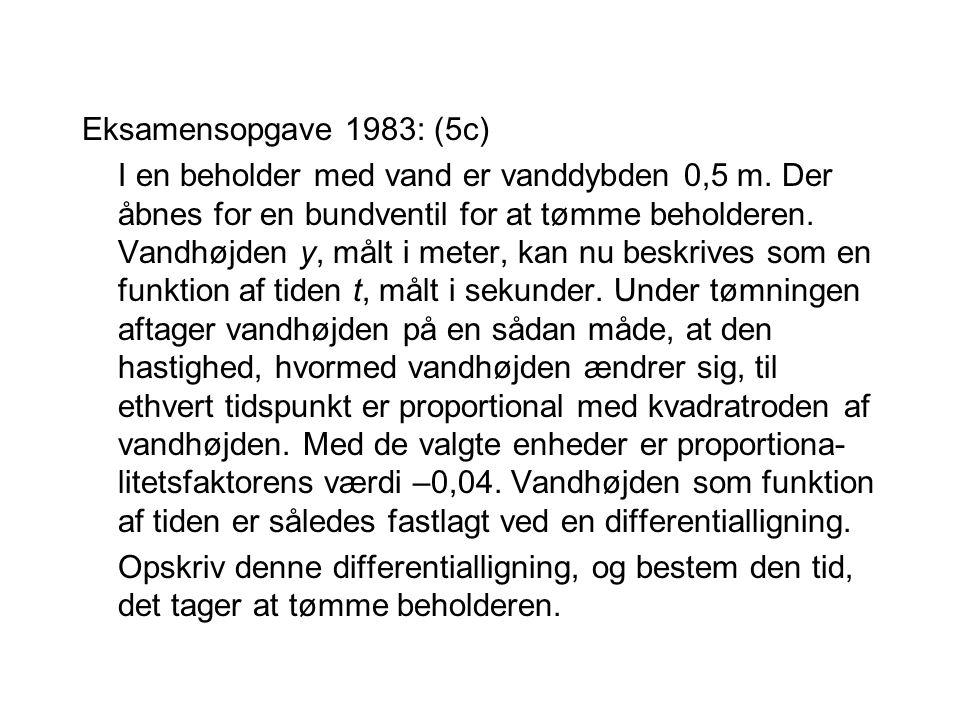 Eksamensopgave 1983: (5c)
