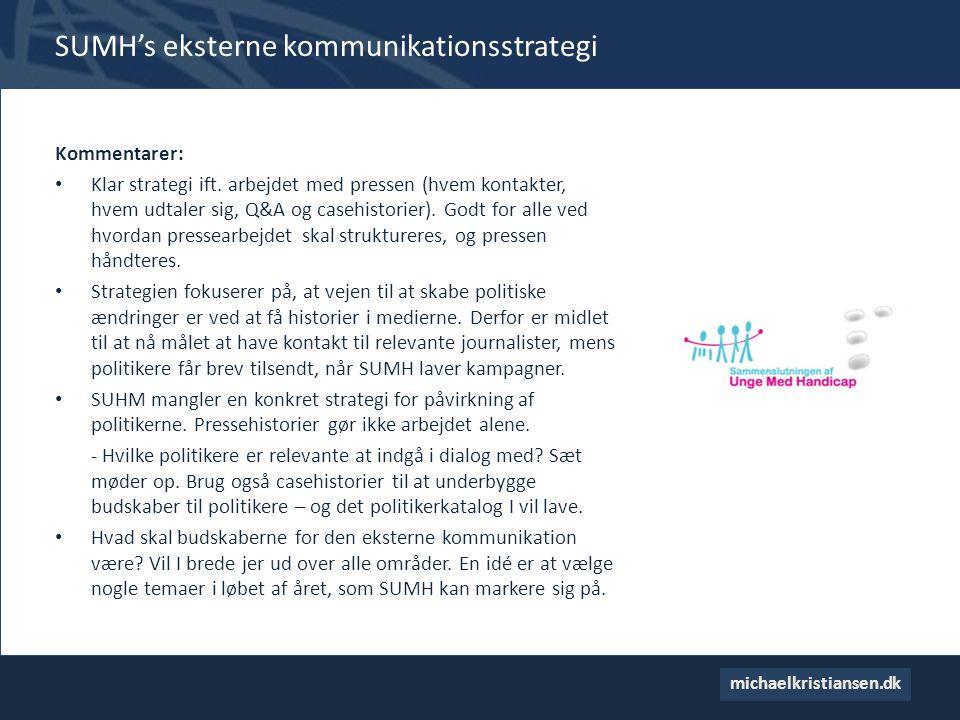 SUMH's eksterne kommunikationsstrategi