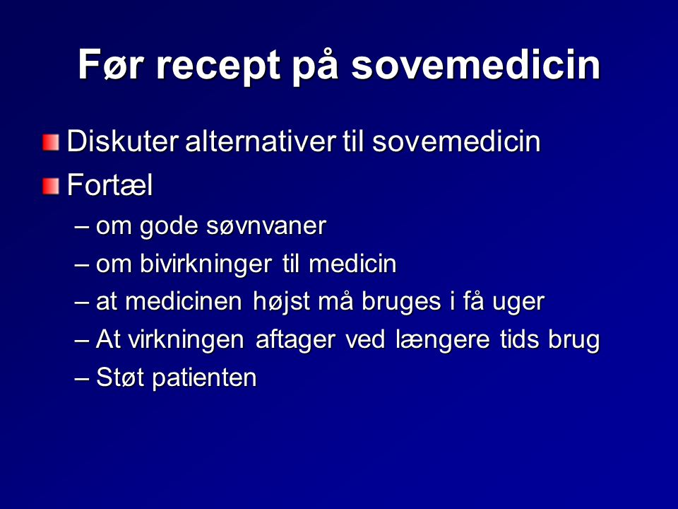 Før recept på sovemedicin