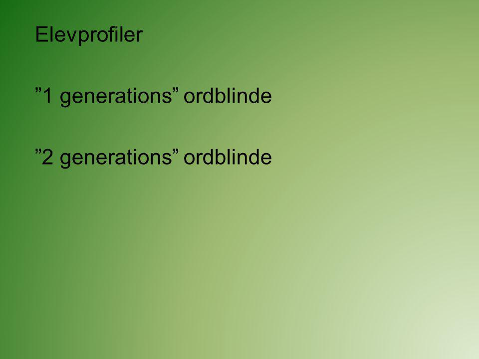 Elevprofiler 1 generations ordblinde 2 generations ordblinde