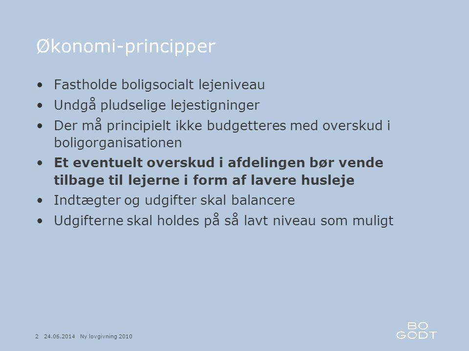Økonomi-principper Fastholde boligsocialt lejeniveau