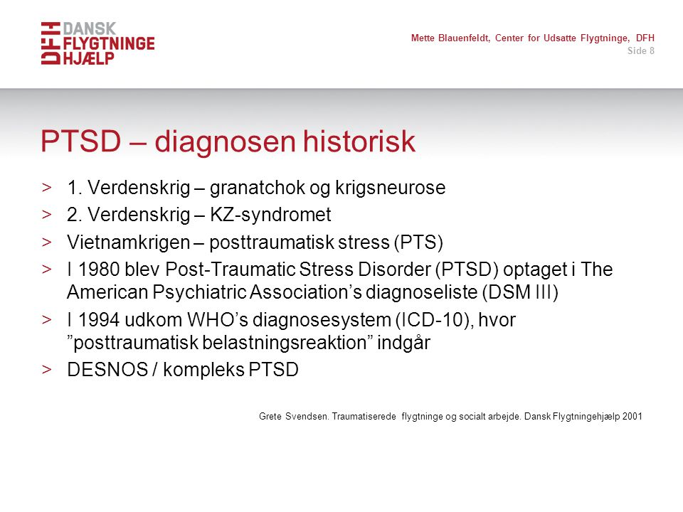 PTSD – diagnosen historisk