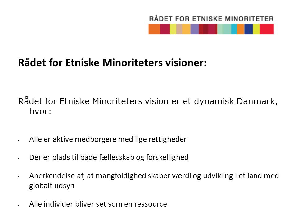 Rådet for Etniske Minoriteters visioner:
