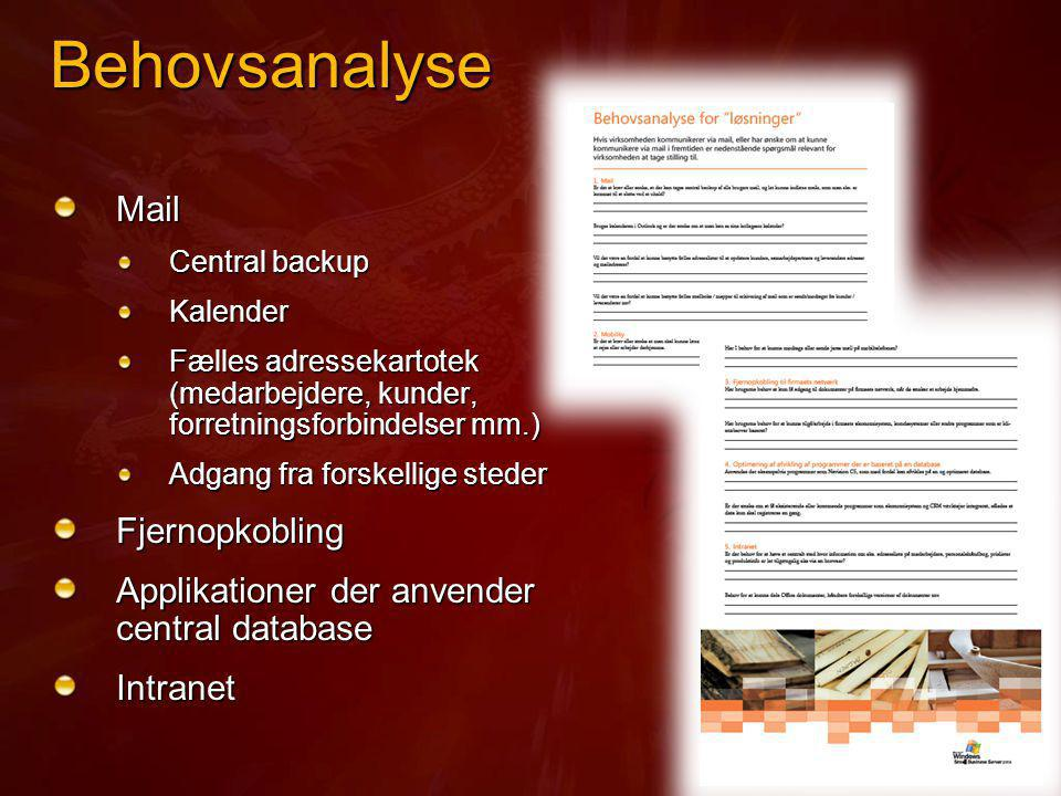 Behovsanalyse Mail Fjernopkobling