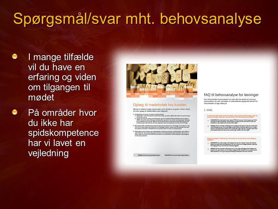 Spørgsmål/svar mht. behovsanalyse