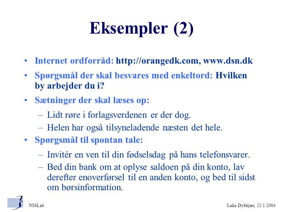 Eksempler (2) Internet ordforråd: http://orangedk.com, www.dsn.dk