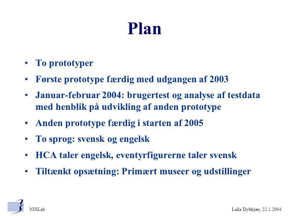 Plan To prototyper Første prototype færdig med udgangen af 2003