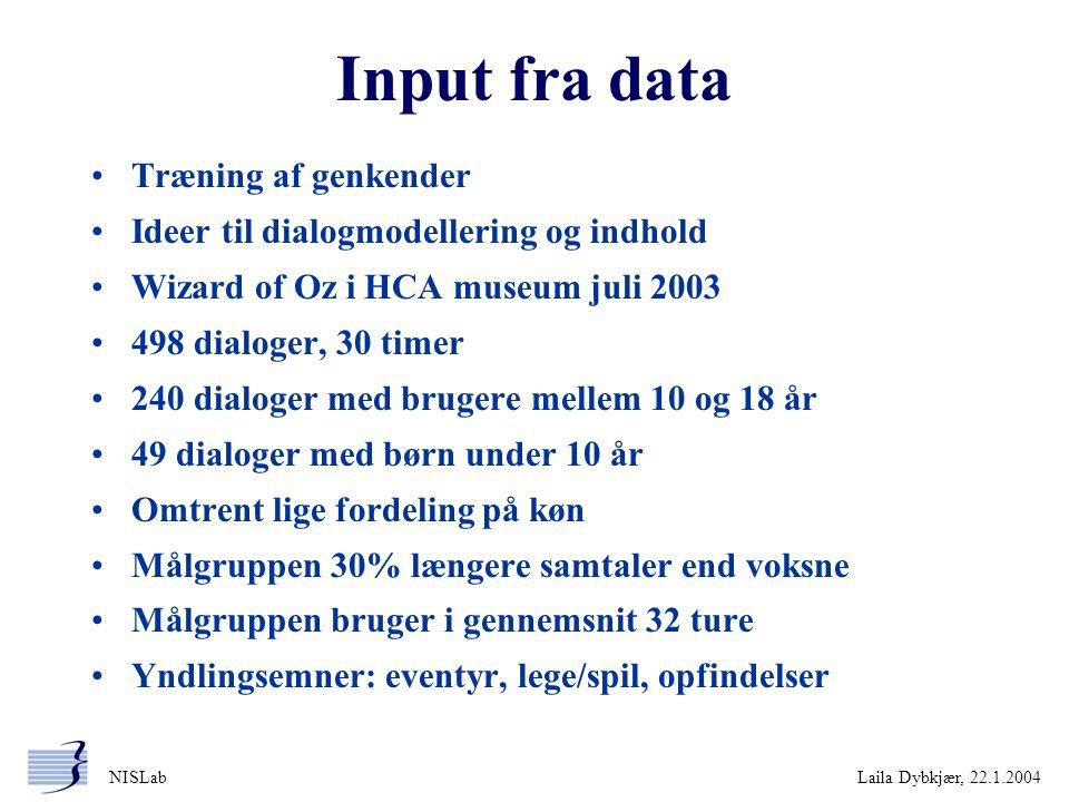 Input fra data Træning af genkender