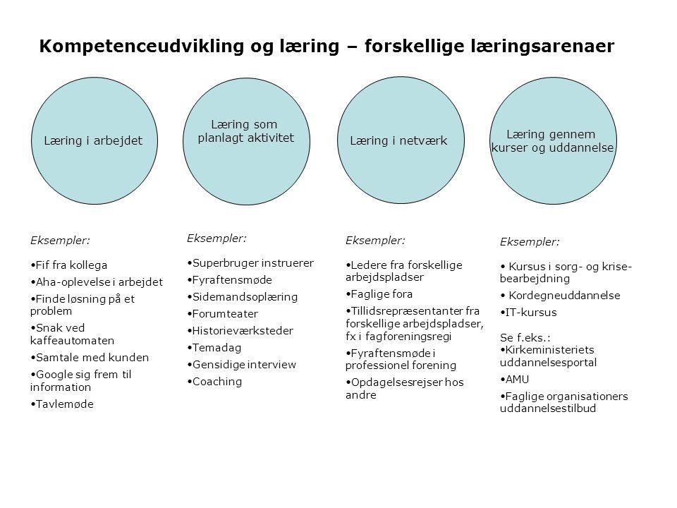 Kompetenceudvikling og læring – forskellige læringsarenaer