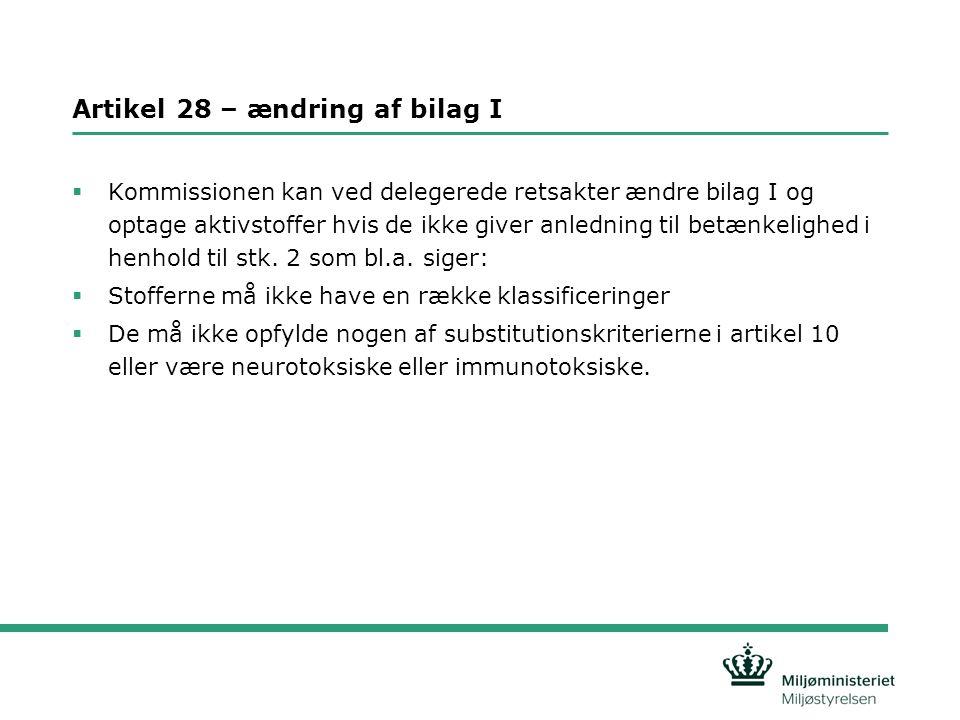 Artikel 28 – ændring af bilag I