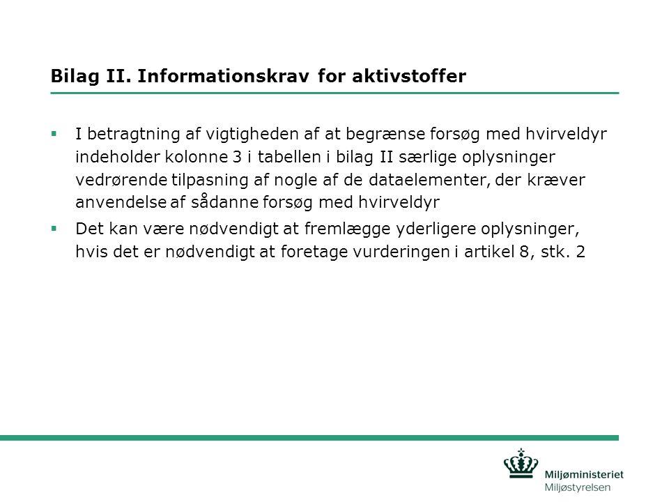Bilag II. Informationskrav for aktivstoffer