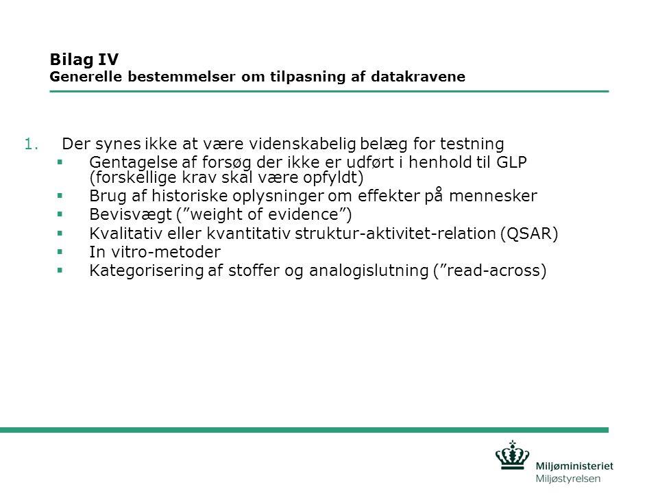 Bilag IV Generelle bestemmelser om tilpasning af datakravene