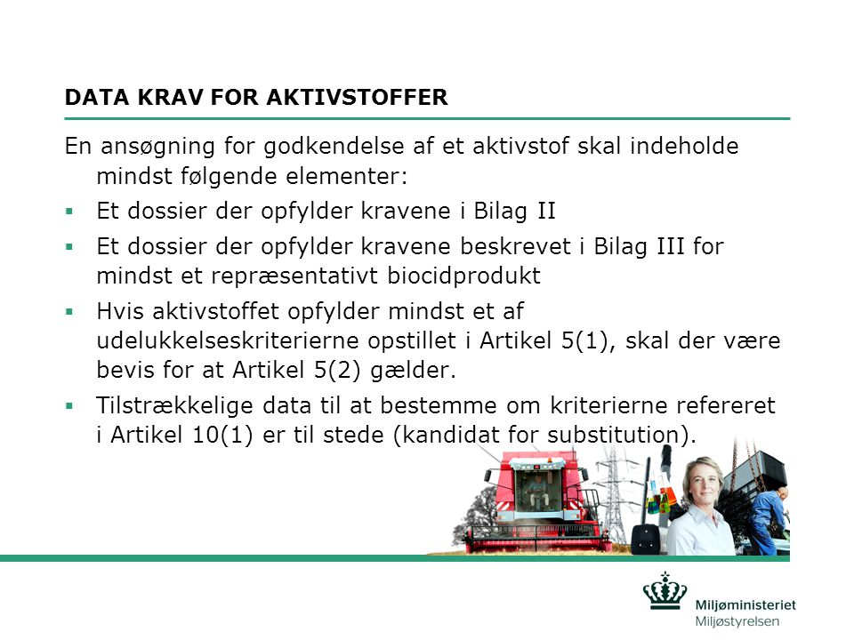 DATA KRAV FOR AKTIVSTOFFER