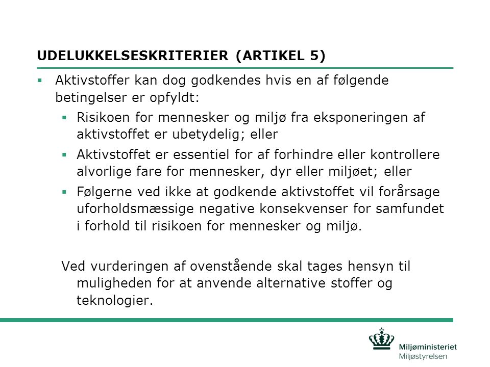 UDELUKKELSESKRITERIER (ARTIKEL 5)