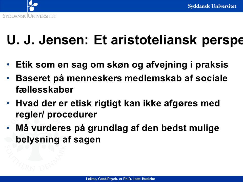U. J. Jensen: Et aristoteliansk perspektiv