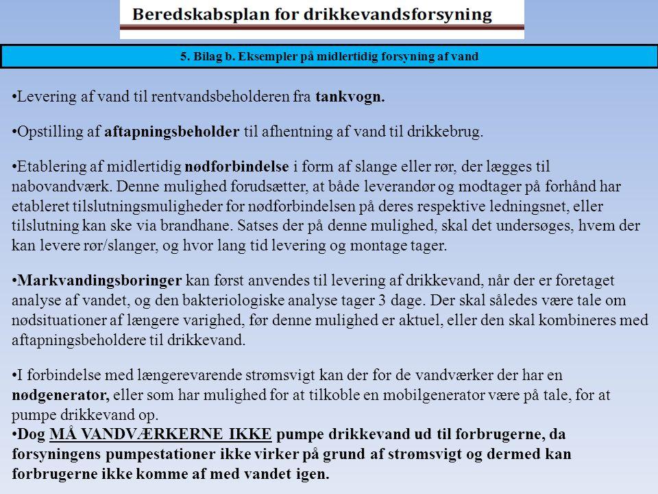 5. Bilag b. Eksempler på midlertidig forsyning af vand