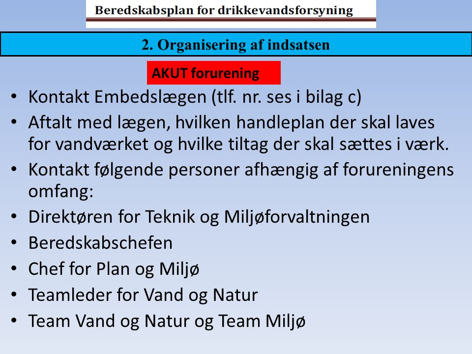 2. Organisering af indsatsen