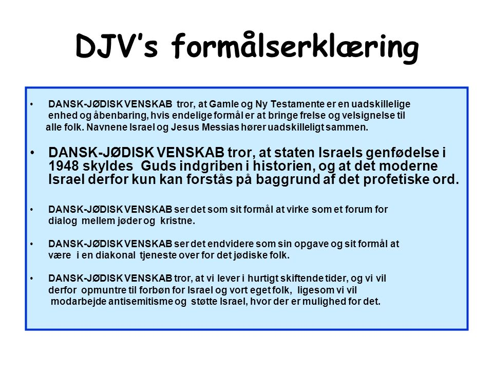 DJV's formålserklæring