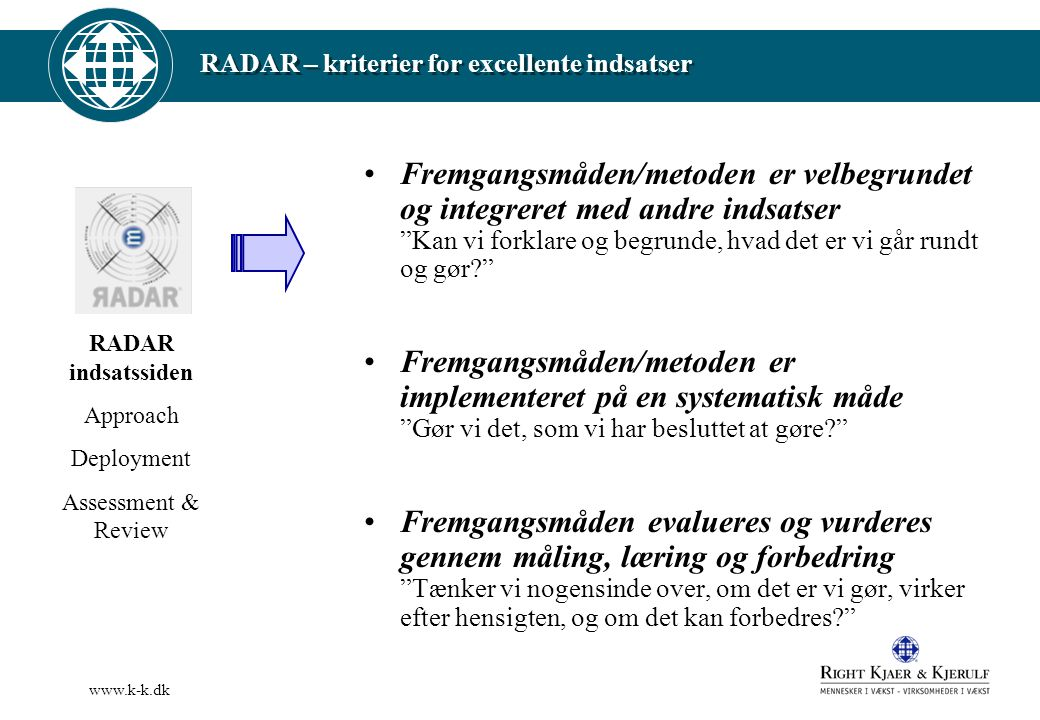 RADAR – kriterier for excellente indsatser