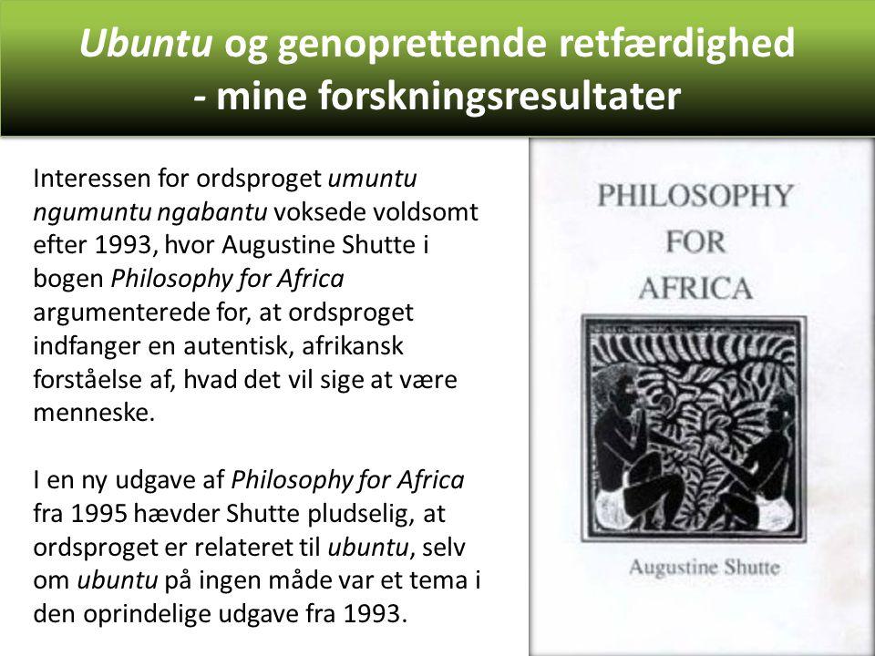Ubuntu og genoprettende retfærdighed - mine forskningsresultater