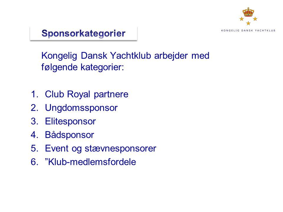 Sponsorkategorier Kongelig Dansk Yachtklub arbejder med følgende kategorier: Club Royal partnere. Ungdomssponsor.