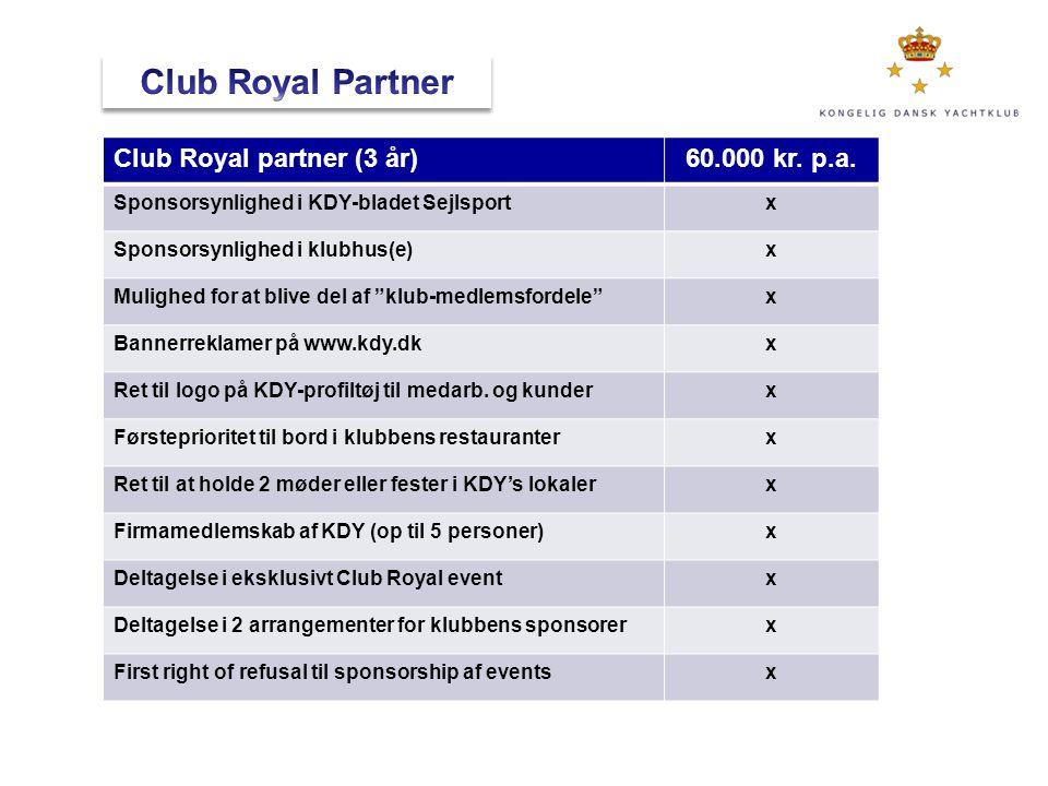 Club Royal Partner Club Royal partner (3 år) 60.000 kr. p.a.