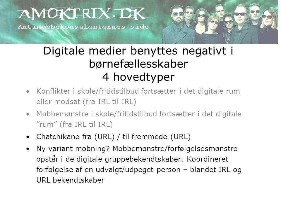 Digitale medier benyttes negativt i børnefællesskaber 4 hovedtyper