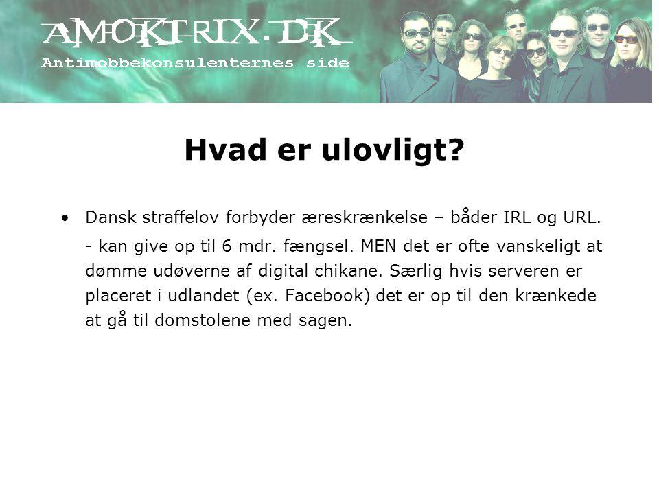 Hvad er ulovligt Dansk straffelov forbyder æreskrænkelse – båder IRL og URL.