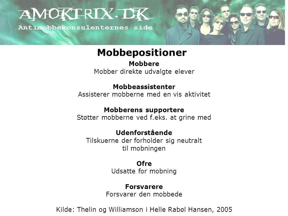 Mobbepositioner Mobbere Mobber direkte udvalgte elever
