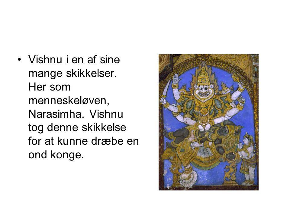 Vishnu i en af sine mange skikkelser. Her som menneskeløven, Narasimha