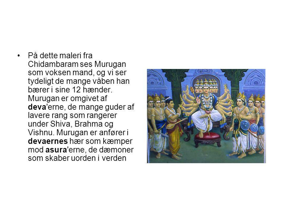 På dette maleri fra Chidambaram ses Murugan som voksen mand, og vi ser tydeligt de mange våben han bærer i sine 12 hænder.