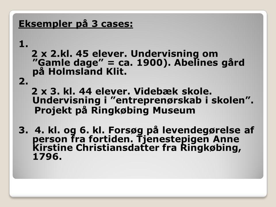 Eksempler på 3 cases: 1. 2 x 2. kl. 45 elever