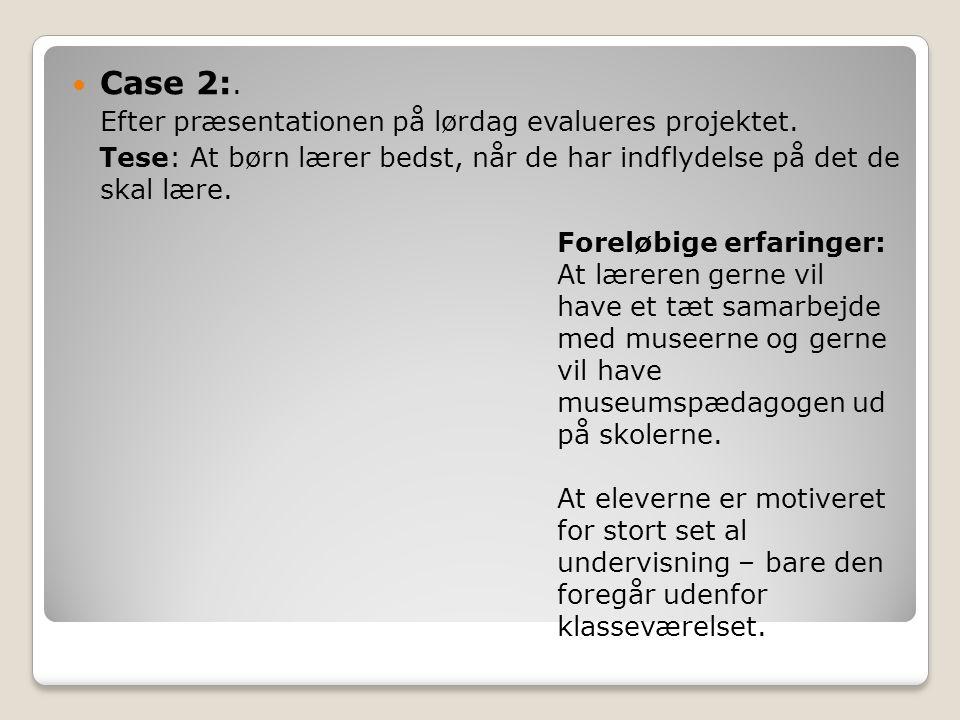 Case 2:. Efter præsentationen på lørdag evalueres projektet.