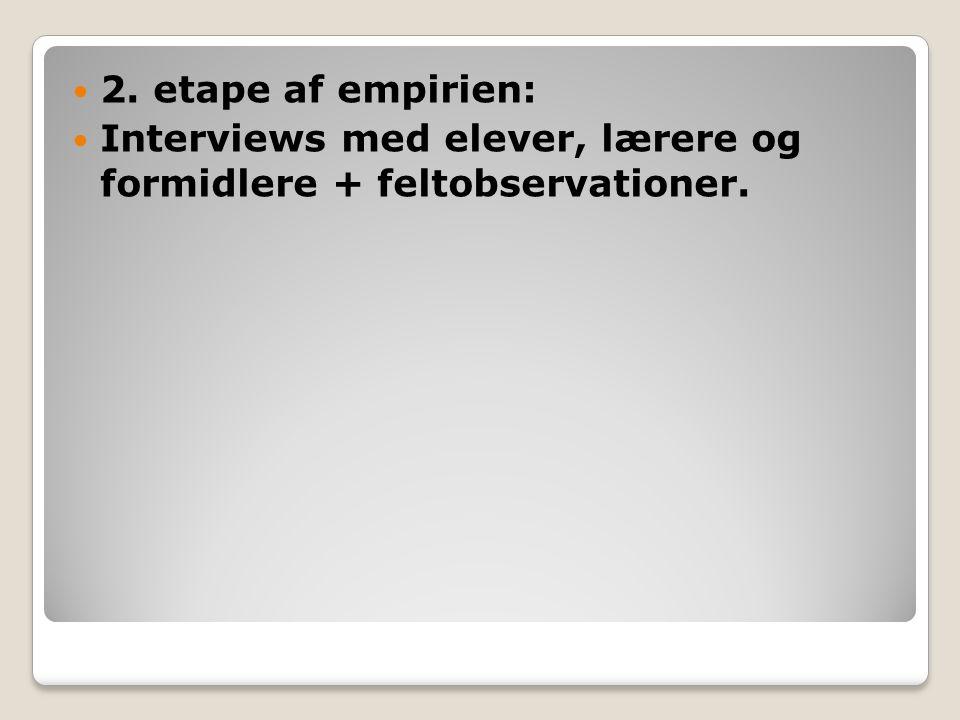 2. etape af empirien: Interviews med elever, lærere og formidlere + feltobservationer.