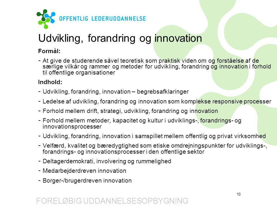 Udvikling, forandring og innovation