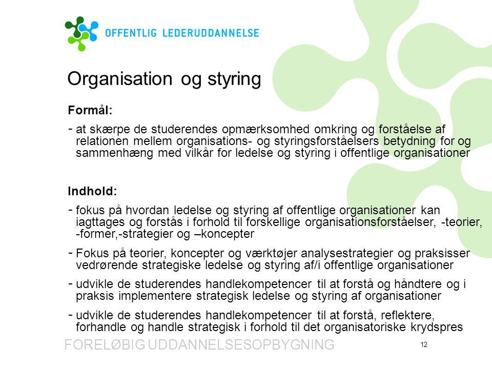 Organisation og styring