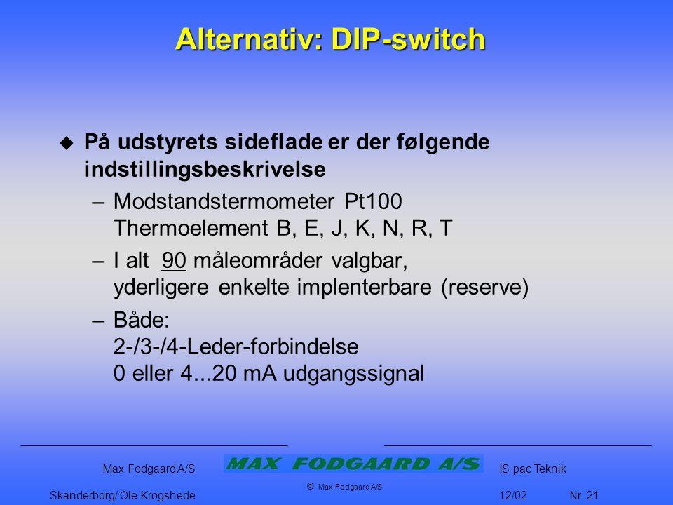 Alternativ: DIP-switch