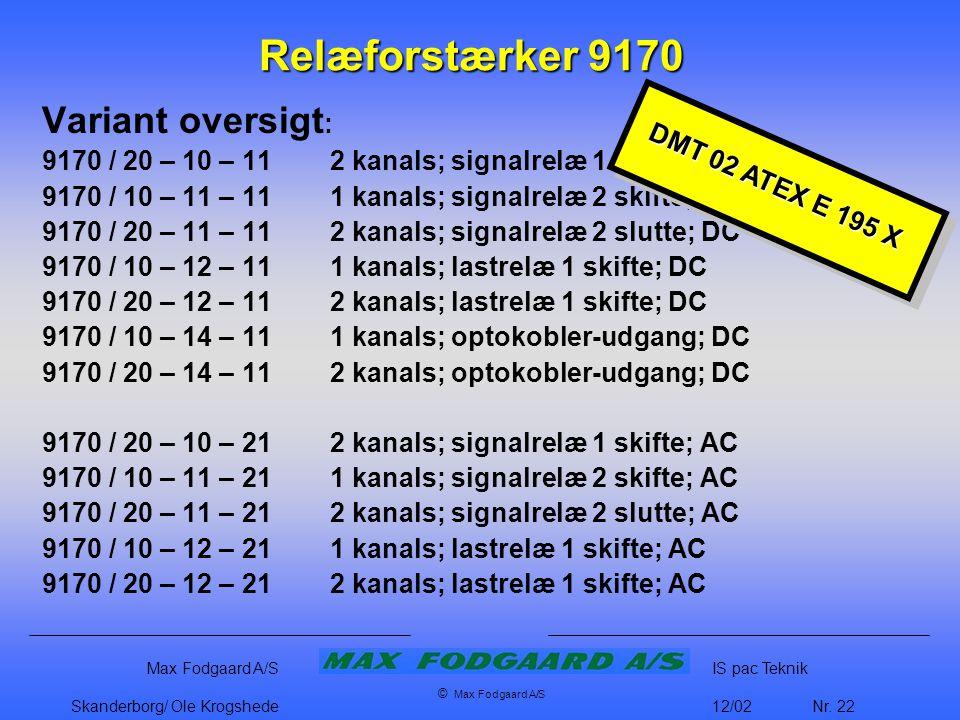 Relæforstærker 9170 Variant oversigt: DMT 02 ATEX E 195 X