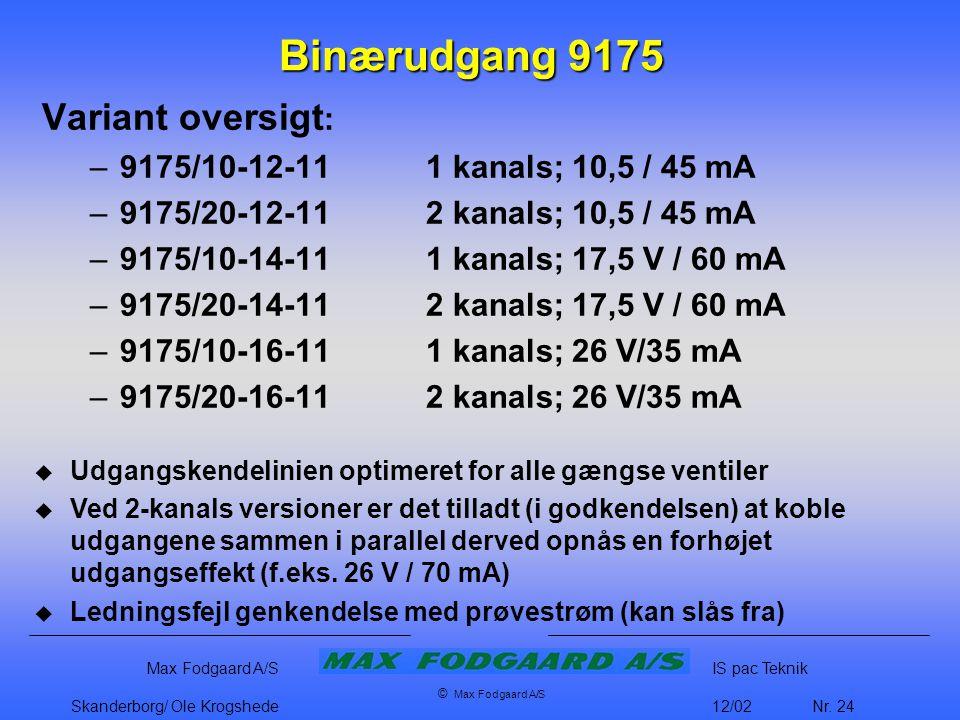 Binærudgang 9175 Variant oversigt: