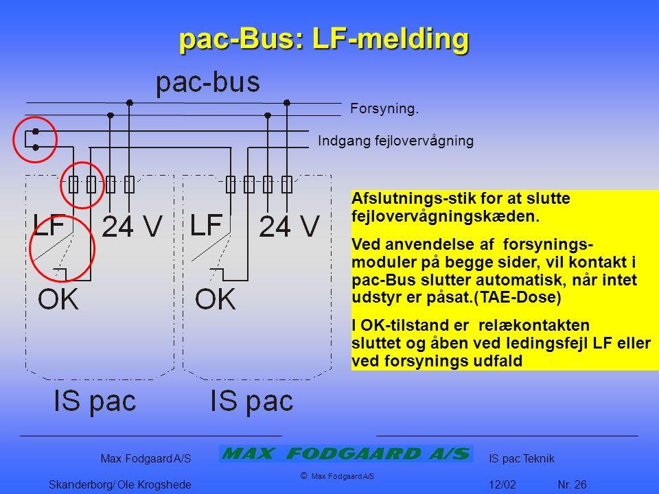 pac-Bus: LF-melding Forsyning. Indgang fejlovervågning. Afslutnings-stik for at slutte fejlovervågningskæden.