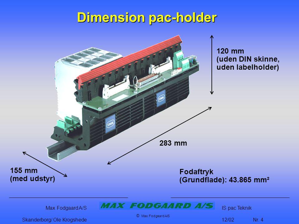 Dimension pac-holder 120 mm (uden DIN skinne, uden labelholder) 283 mm