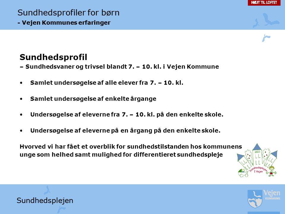 Sundhedsprofil – Sundhedsvaner og trivsel blandt 7. – 10. kl. i Vejen Kommune. Samlet undersøgelse af alle elever fra 7. – 10. kl.
