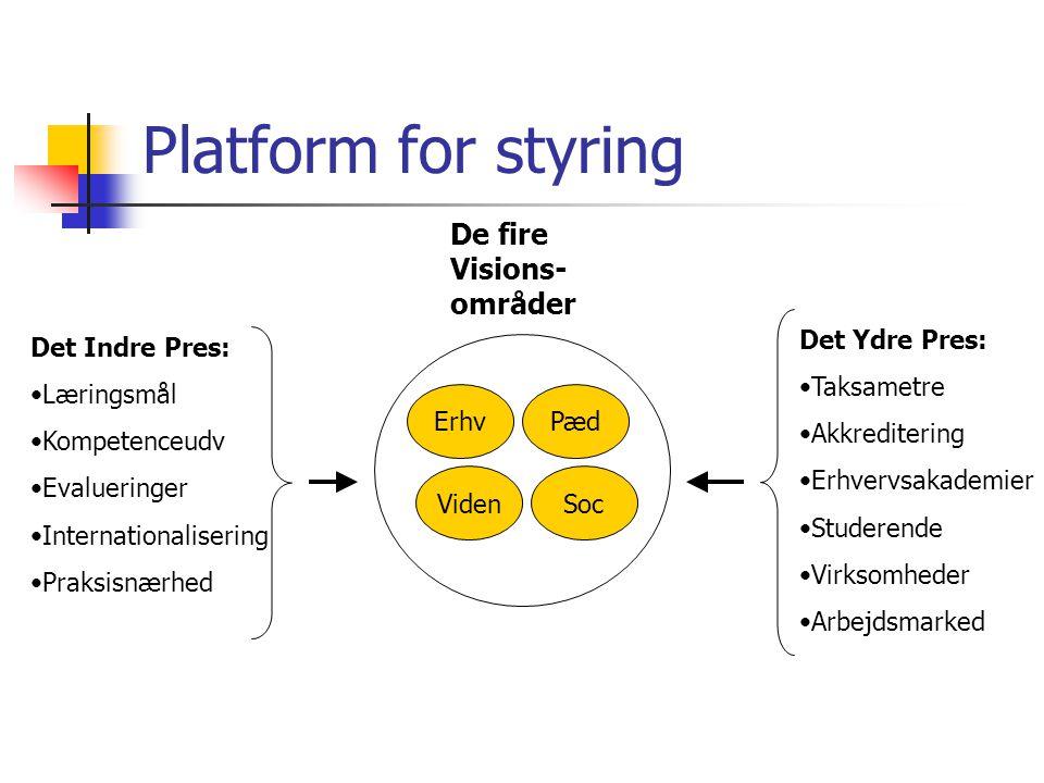 Platform for styring De fire Visions-områder Det Ydre Pres: Taksametre